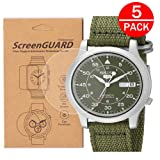 [5-Pack] For Seiko SNK805 /SNK803 Watch Screen Protector, Full Coverage Screen Protector for Seiko SNK805/ SNK805K2 Watch HD Clear Anti-Bubble and Anti-Scratch