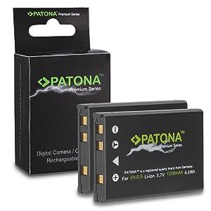 2x Premium Batería EN-EL5 ENEL5 para Nikon Coolpix 3700 | 4200 | 5200 | 5900 | 7900 | P3 | P4 | P80 | P90 | P100 | P500 | P510 | P520 | P5000 | P5100 | P6000 | S10 y mucho más... [ Li-ion; 1200mAh; 3.7V ]  Electrónica Más información y revisión del cliente