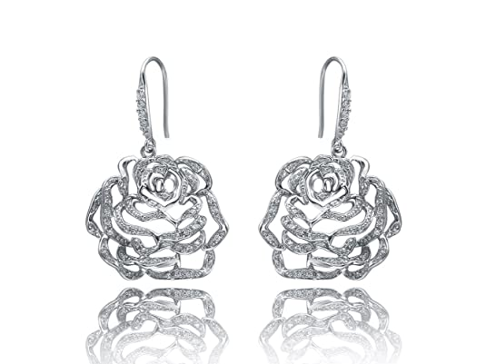 Fei Liu Rose Rhodium Vermeil Medium Earrings