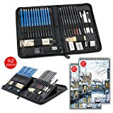 Sketch Set for Drawing with Sketch Book, 40-Piece Professional Sketch Kit and 2 50-Sheet Pads for Kids, Teens and Adults, Complete Artist Kit Includes Pencils, Erasers, Pastels, A Handy Case etc (Color: Red)