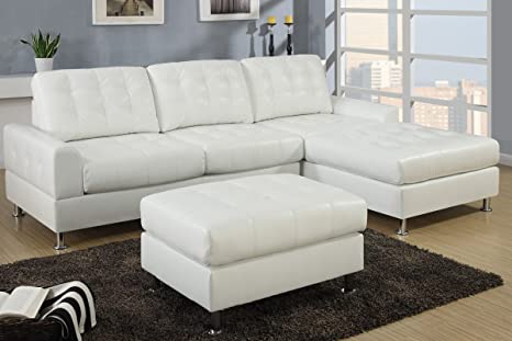 2 pc II Reversible Cream bonded leather sectional sofa with chaise lounge with chrome legs and tufted back and seats