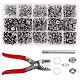 Craftsmen 200 Sets Snap Fasteners Kit Tool, Metal Snap Buttons Rings with Fastener Pliers Press Tool Kit for Clothing (9mm, silver) (Color: silver, Tamaño: 9mm)
