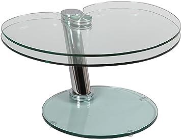 V v table basse verre verre et acier plateau pivotant - Plateau pivotant cuisine ...