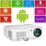 Digital HD Home LED LCD Android Wifi Home Cinema Theater Projector 3600 Lumen 1080p Airplay Miracast Wireless HDMI AV USB VGA TV for XBOX PS3 PS4 WII iPhone iPad Phones PC Laptop DVD Movie Game (Color: Wireless Wifi HD Projector,3600lumen)