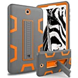Galaxy Tab S2 9.7 Case,TOPSKY[Kickstand Feature] Three Layer Hybrid Heavy Duty Full-Body Shockproof Anti-Slip Protective Case for Samsung Galaxy Tab S2 9.7 inch (SM-T810/SM-T815/SM-T813),Grey/Orange