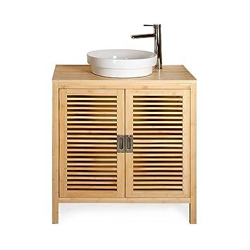 nature meuble sous sous vasque simple en bambou 80cm 80cm naturel alinea 80. Black Bedroom Furniture Sets. Home Design Ideas