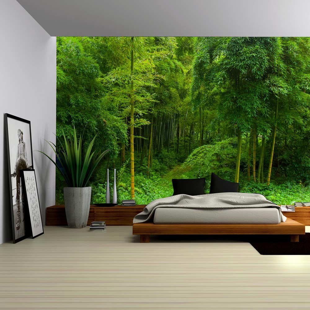 Hidden path in a bamboo forest wall mural removable for Bamboo forest wall mural
