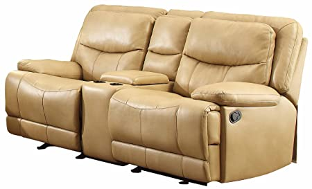 Homelegance 8599TPE-2 Double Glider Reclining Love Seat with Console, Taupe Breathable Faux Leather