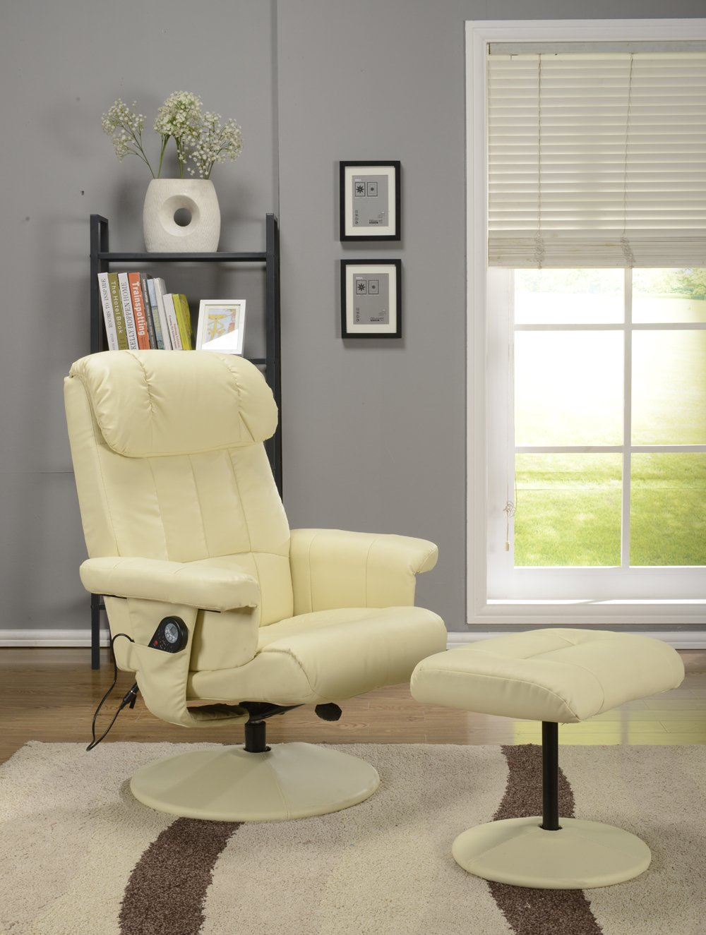 Best Massage Chair reviews - Kings Brand Cream White Massage Recliner Swivel Chair & Ottoman