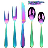 Rainbow Silverware Set, 20-Piece Flatware Cutlery Stainless Steel Utensil Set Include Knife/Fork/Spoon, Mirror Polished Set of Utensils Service for 4, Dishwasher Safe (Colorful Multicolor) (Color: Rainbow Silverware Set, Tamaño: 20-piece)