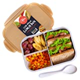 Bento Box Lunch Box, Food Containers with Lids, 3 Compartment Bento Box Containers for Meal Prepping, Reusable Food Prep Containers, BPA Free Containers with Compartments, Bento Lunch Box for Adults (Color: Brown)