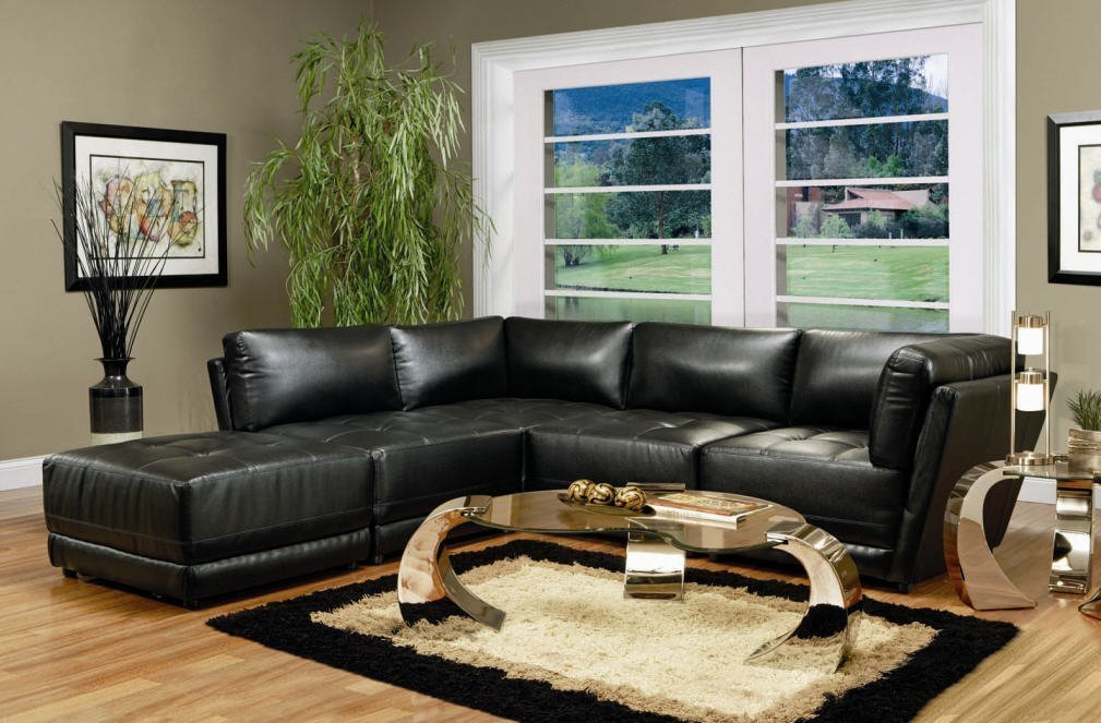 Contemporary Modular Sectional Group in 100% Black Bonded Leather