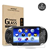 (Pack of 2) Screen Protector For PS Vita 1000, Akwox Premium HD Clear 9H Tempered Glass Screen Protective Film For Sony PlayStation Vita PSV 1000-Max Clarity And Touch Accuracy Film (Color: For PSV 1000)