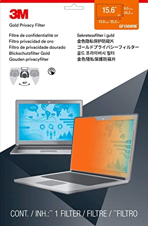3M Privacy Filters Gold Touch Filter for 15.6 in. Full Screen Laptop (16:9 Aspect Ratio) (GF156W9E) (Color: Gold, Tamaño: 15.6)
