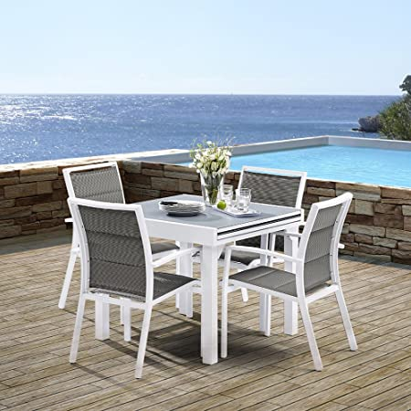 Salon de jardin Modulo 1 table + 4 fauteuils (Blanc/Gris perle) Blanc/Gris perle