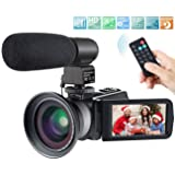Camcorder,Besteker 1080P Video Camera IR Night Vision Full HD Digital Camera with External Microphone and Wide Angle Lens(2 Batteries Included)