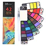 MEEDEN Watercolor Paint Set, 42 Assorted Colors Professional Travel Foldable Watercolor Paint Set with Water Brush, Travel Pocket Watercolor Kit for Artist, Kids & Adults Field Sketch Outdoor Painting (Color: 42 Colors)