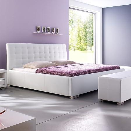 Polsterbett Kunst-Lederbett Weiß Bett Doppelbett Bettgestell Ilka Komforthöhe, Größe:160x200 cm