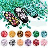 Oksale 12 Box Diamonds Dazzling Tips Nail Sticker Sequins Colorful Nail Art Decoration (12 Colors) (Color: 12 Colors, Tamaño: One Size)