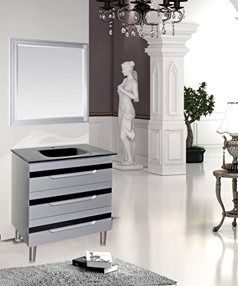 Vitoria 32 Silver/Black Bathroom Vanity