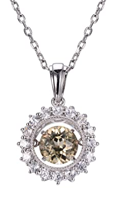 Hutang Jewelry New Gemstone Dancing Pendant 1.18ct Moissanite Diamond & White Zircon 925 Sterling Silver Necklace