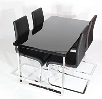 Charles Jacobs Lounge Kitchen Dining Table Set with 4 Black Faux Leather Chairs, Black High Gloss MDF Top and Solid Chrome Platform, 4 Seats