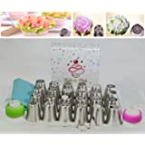 Russian Piping Tips + 53 Piece Baking Supplies + 24 Icing Nozzles + 20 Pastry Bags + TriColor & Single Coupler + 5 Cleaning Brushes + Leaf Tip + Sale Limited time + Price reduced (Color: White)