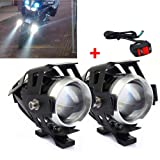 MotorFansClub 2PCS 125W U5 LED Headlight Driving Spotlight Fog Light Lamp Fit for Motorcycle ATV Truck w/ON/OFF Switch Button (Tamaño: One Size)