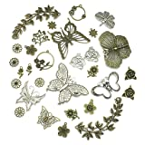 JIALEEY Large Butterfly Leaf Charms Beads Necklace Pendants DIY for Jewelry Making and Crafting, 29pcs Mixed Bronze & Silver (Color: Bronze & Silver)