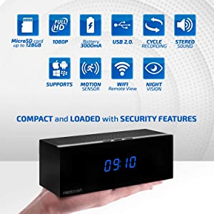 Clock Spy Camera - Wireless Home Hidden Cam - Security Nanny Cam with HD 1080p - Night Vision - Speaker - Motion Detection - WiFi - 140° View Angle - 3000 mA Battery - 8 IR Led Lights (Color: NeoLavish)
