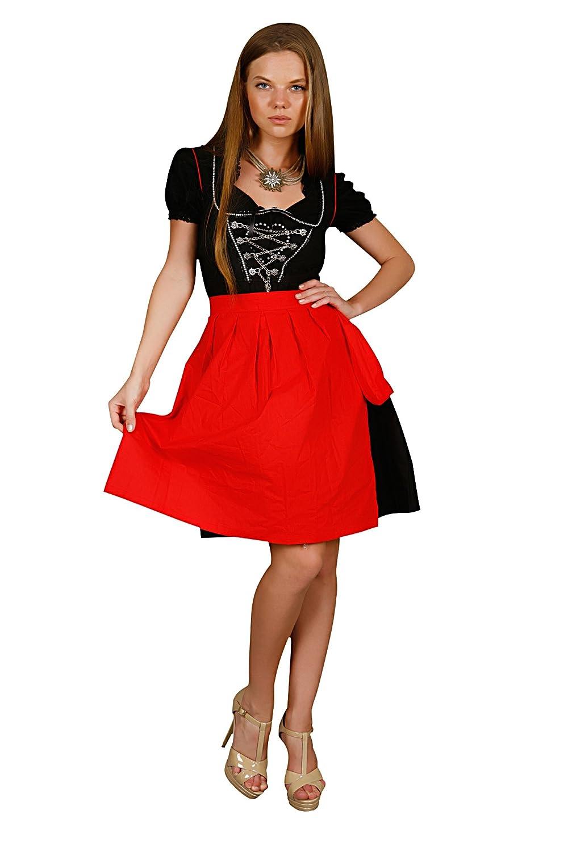 3tlg. Dirndl schwarz und rot mit Bluse und Schuerze online bestellen