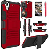 HTC Desire 626s Case, HTC Desire 626 Case, Elegant Choise Heavy Duty Hybrid Dual Layer Armor  Holster Case with Kickstand and Belt Swivel Clip for HTC Desire 626 (A Red/Black) (Color: A Red/Black)