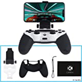CamKix Compatible Phone Mount and Skin Replacement for PS4 Controller - Ideal for PS4 Remote Play/Mobile Gaming - Adjustable Viewing Angle and Grip (Color: Phone Mount & Grip Skin (Black))