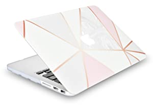 KECC Laptop Case for New MacBook Air 13 Retina (2020/2019/2018, Touch ID) w/Keyboard Cover + Sleeve + Screen Protector (4 in 1 Bundle) Plastic Hard Shell Case A1932 (White Marble with Pink Grey 2) (Color: White Marble with Pink Grey 2, Tamaño: A1932 Mac Air 13 Retina (2019/2018,Touch ID))