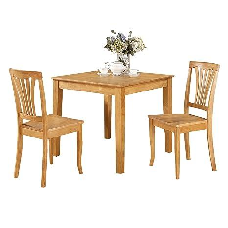 East West Furniture OXAV3-OAK-W 3-Piece Kitchen Table Set, Oak Finish