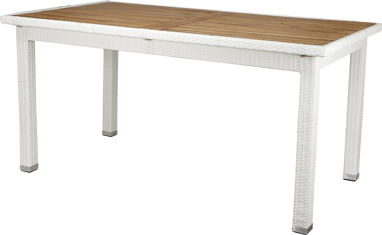 Gartenfreude Tisch Polyrattan, Aluminiumgestell mit Akazienholz, Weiß, 160 x 90 x 75 cm (LxBxH) bestellen