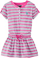 U.S. POLO ASSN. Little Girls' Striped Dress with Tabbed Short Sleeves