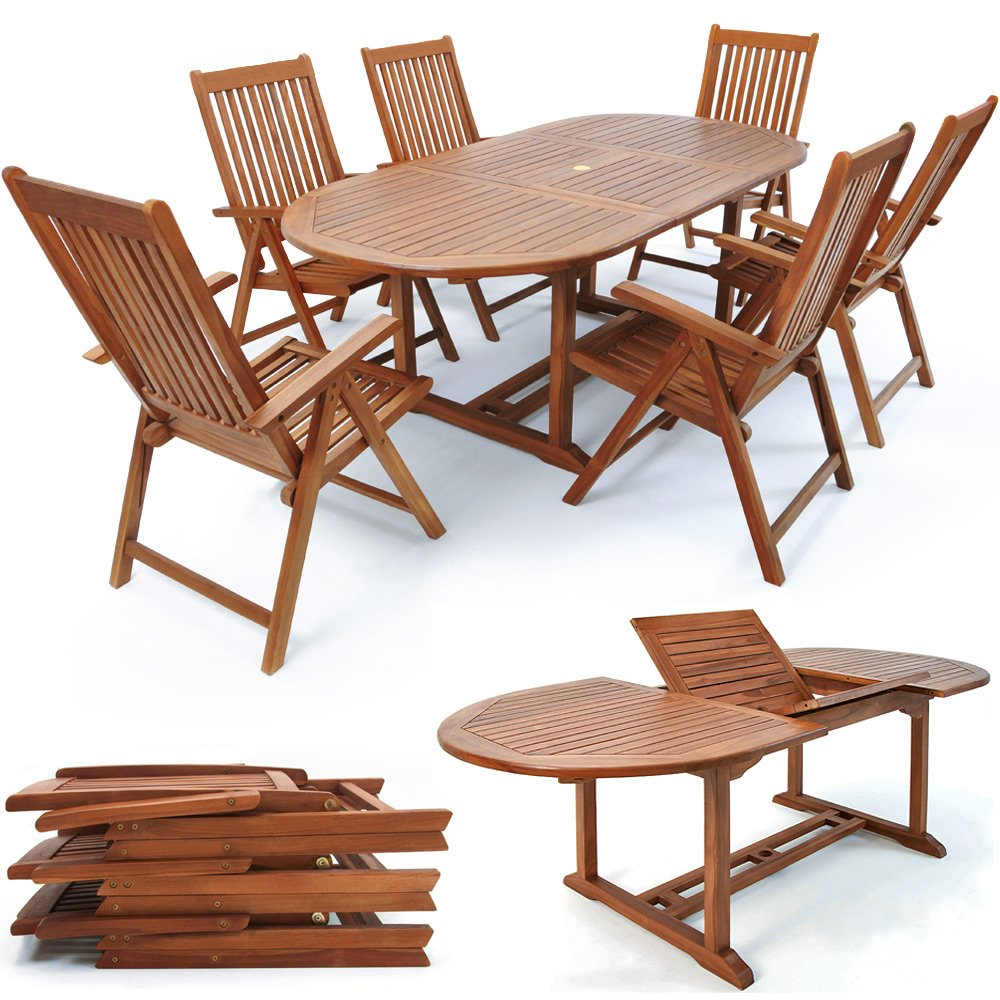 Sitzgruppe Vanamo 7 tlg. Tisch + 6 Stühle Holz günstig bestellen
