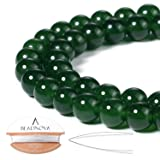 BEADNOVA 8mm Green Jade Gemstone Round Loose Beads for Jewelry Making (45-48pcs)