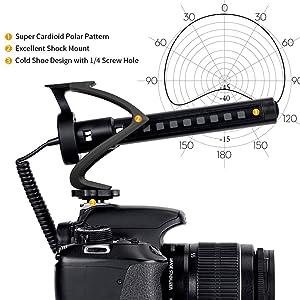 COMICA CVM-V30 LITE VIDEO MICRÓFONO CONDENSADOR SUPERCARDIOIDE Micrófono de escopeta en la cámara para Canon Nikon Sony Cámara Panasonic / DSLR / iPhone Samsung Huawei? Black?