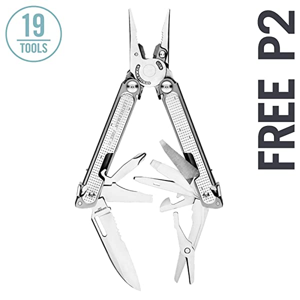 LEATHERMAN - FREE P2 Multitool with Magnetic Locking, One Hand Accessible Tools and Premium Nylon Sheath (Color: Stainless)