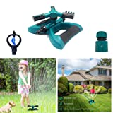 DTC Lawn Sprinkler, Automatic 360 Rotating Adjustable Garden Water Sprinklers Lawn Irrigation System Covering Large Area with 3 Arm Sprayers - Up 3600 SQ FT Coverage-Leak Free Durable
