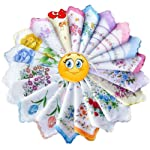 FTSUCQ Womens/Girls Vintage Multi Floral Wedding Party Cotton Handkerchiefs