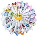 FTSUCQ Womens/Girls Vintage Multi Floral Wedding Party Cotton Handkerchiefs