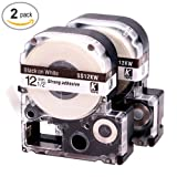 LK LC Label Tape Cartridge Compatible Epson Labelworks LW-300 LW-400 LW-500 LW-600p label printers, Black On White LC-4WBN9 (LK-4WBN), 1/2