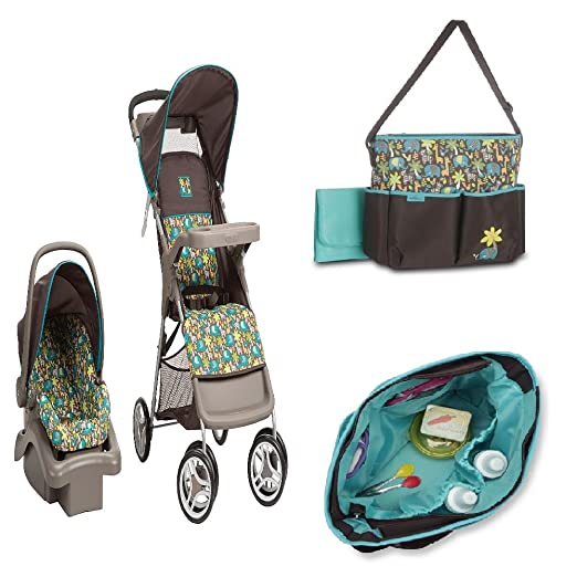 Baby Stroller Travel System and Diaper Bag Bundle (Wild Things)