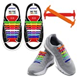 HOMAR No Tie Shoelaces for Kids and Adults - Best in Sports Fan Shoelaces - Waterproof Silicone Flat Elastic Athletic Running Shoe Laces with Multicolor for Sneaker Boots Board Shoes and Casual Shoes (Color: Adult Size Mix Color, Tamaño: Adult Size)