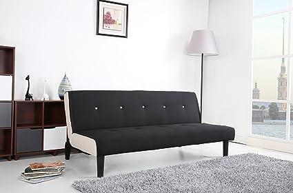Paulo Schlafcouch Stoff schwarz-weiß Schlaffunktion Sofa