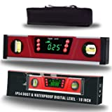 10-Inch Digital Torpedo Level and Protractor | Neodymium Magnets | Bright LED Display | V-GROOVE MAGNETIC BASE|IP54 Dust/Water Resistant smart level with Carrying Bag (Color: LED Smart Level)