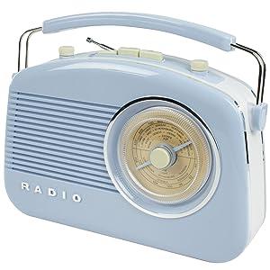 Konig Stylish Retro Table Radio   Baby Blue       TVCustomer reviews and more information